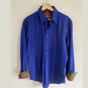 Robert Graham Blue Plaid Button Down Shirt
